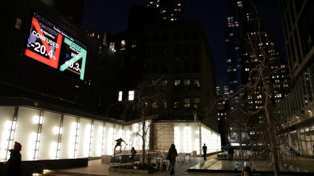 Maurice Benayoun, Occupy Wall Screens , 2012, installation view at Big Screen Plaza, NYC. Courtesy of the artist. Photo: David Bates, Jr.