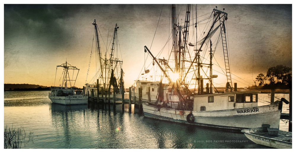 Shrimp Boats on Folly River, James Island, South Carolina