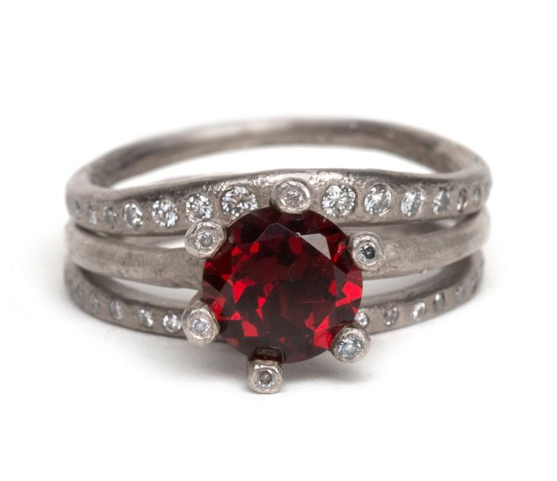 Garnet & Diamond Prong Ring