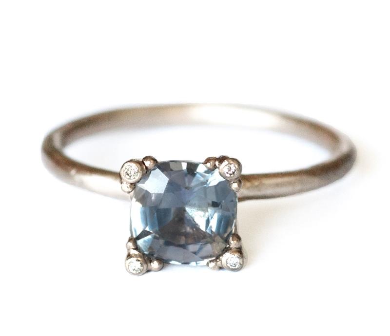 Violet Sapphire & Diamond Prong Ring