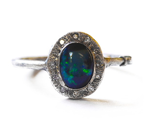 black engagement opal by designs rings michelle