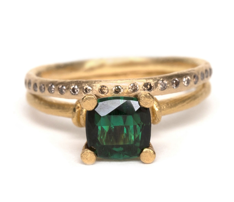 'Regal' Green Ring with Yellow 'Eternal Love' Ring