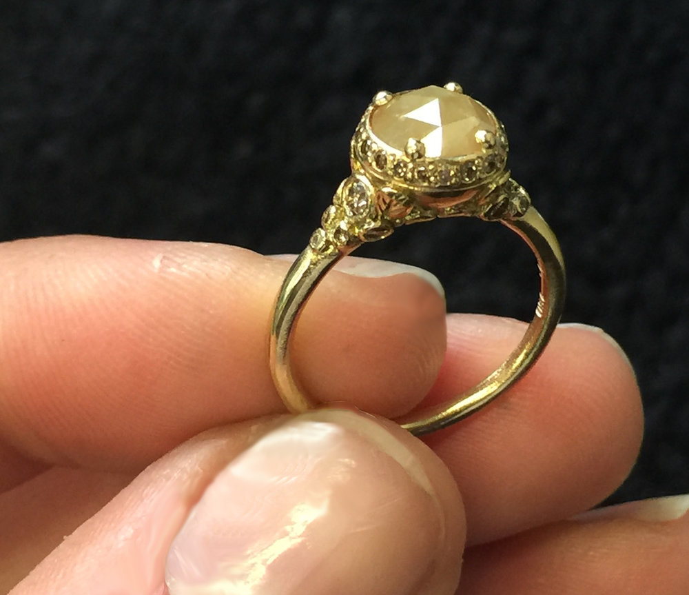 Indian Summer 18KT Yellow Gold Yellow Rose Cut Diamond Champagne Diamonds