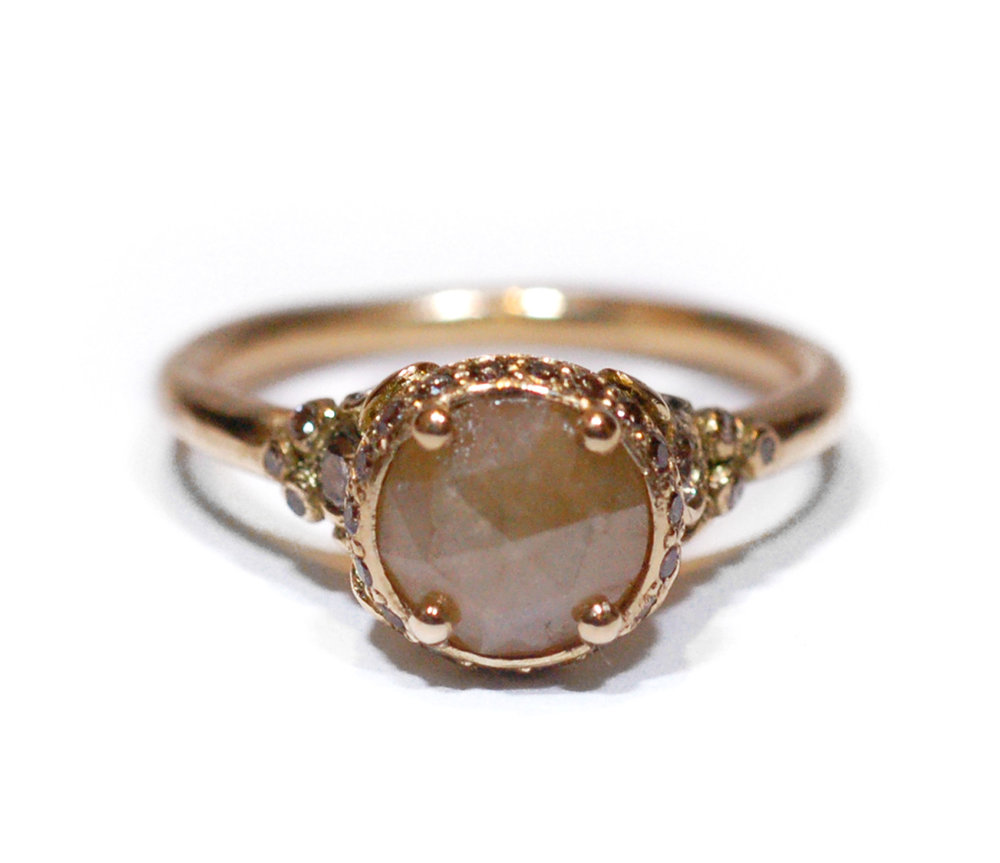 Indian Summer 18KT Yellow Gold, Opaque Yellow Diamond, Champagne Diamonds