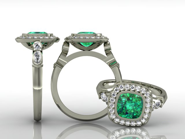 Amoli II Ring  18KT White Gold, Green Sapphire, White Diamonds