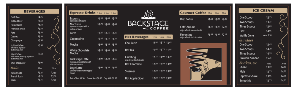 Backstage Coffee - Menu Sign Design
