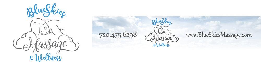 Blue Skies Massage and Wellness Logo and Marketing Materials