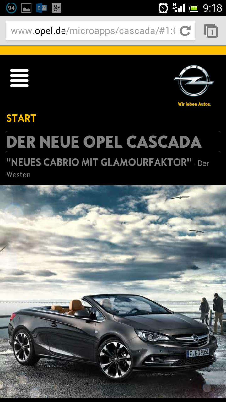 Mobile Version der Microsite