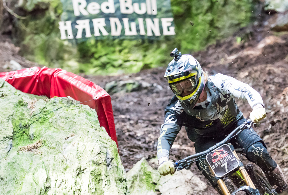 Bernard Kerr close up after The Slab at Red Bull Hardline 2015