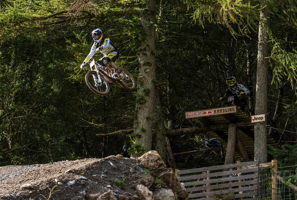 Gee Atherton exits The Cannon at Red Bull Hardline 2015