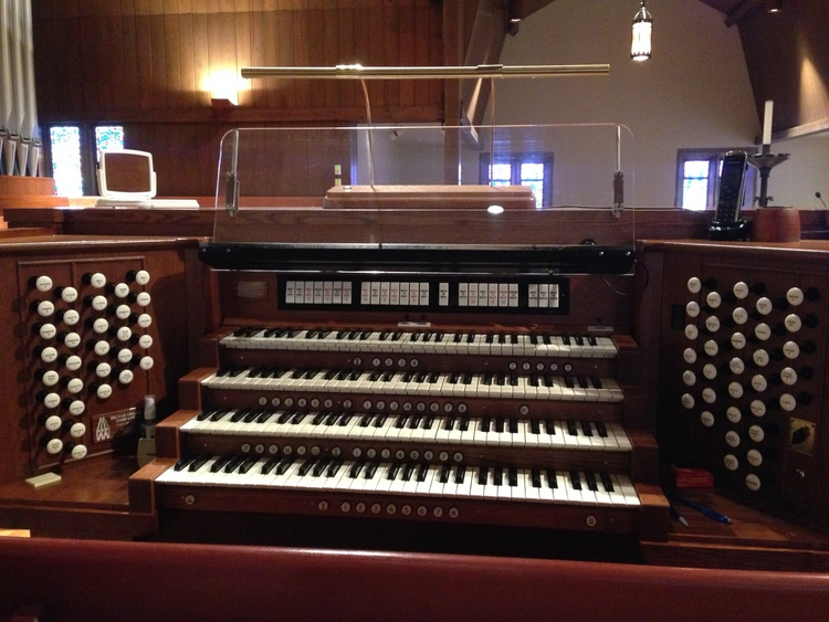 Organ console - four manuals and stops