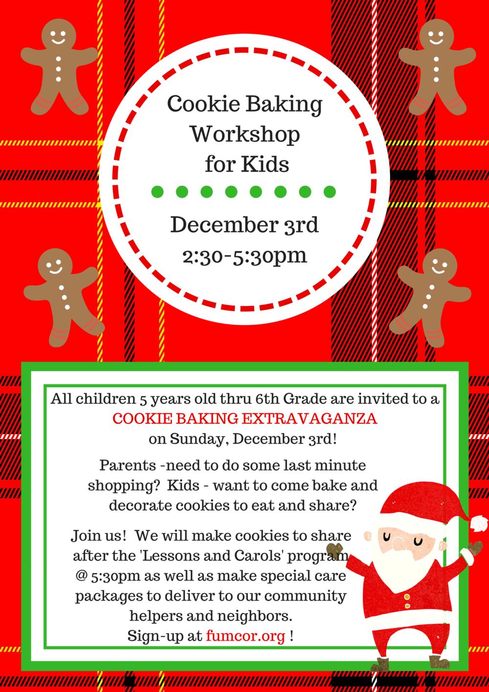 cookie baking workshop flyer