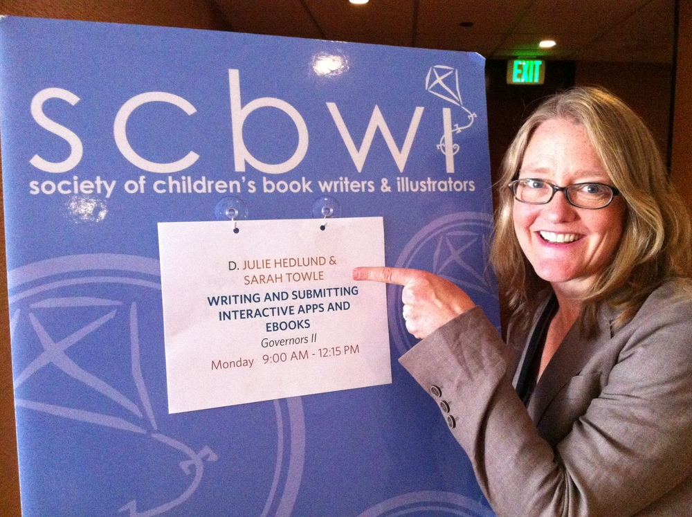 Let the presentation begin! Talking about producing StoryApps and eBooks with Julie Hedlund at SCBWI-LA 2013.