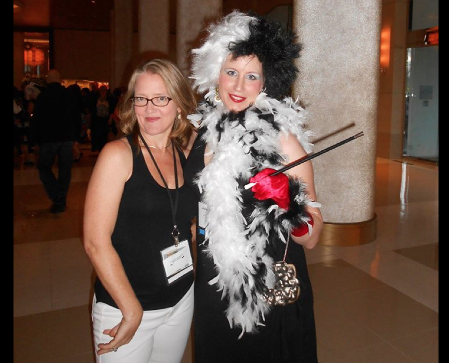 Me (Sarah Towle) and Cruella Deville (aka Julie Hedlund) at the SCBWI-LA Black & White Conference Gala.