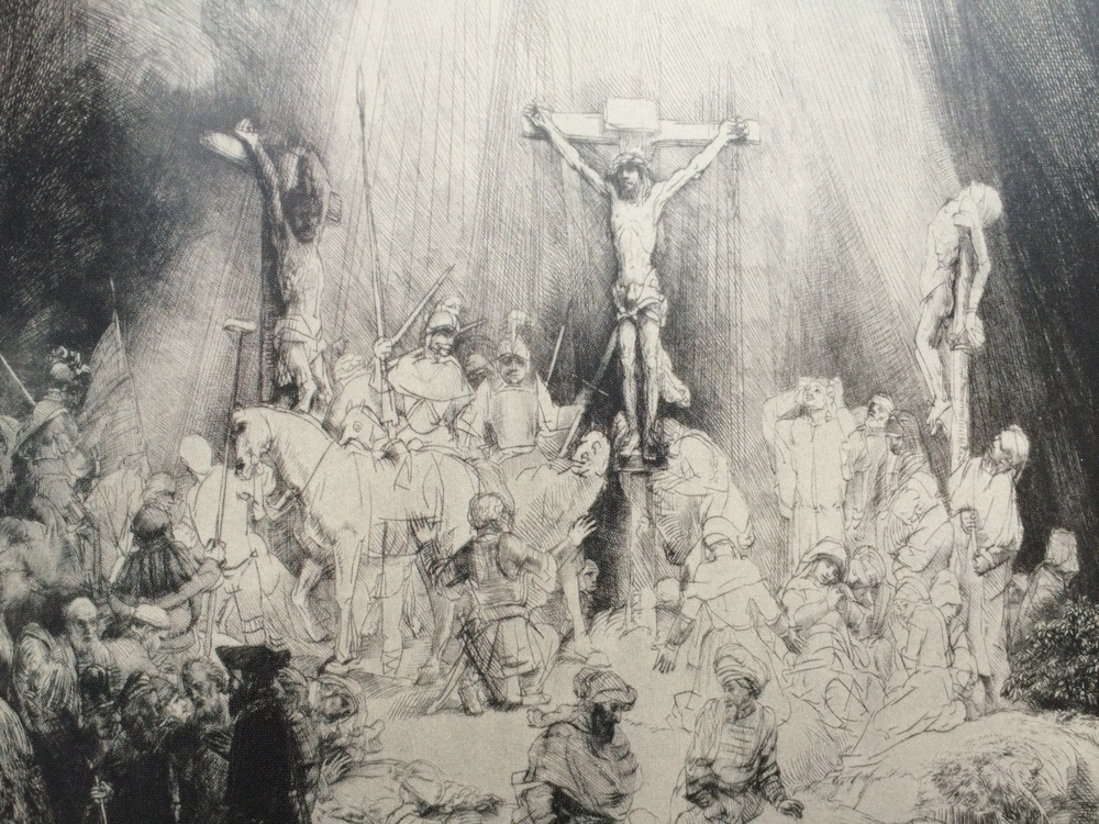 The Three Crosses, 1653, Drypoint, 3rd state of 5