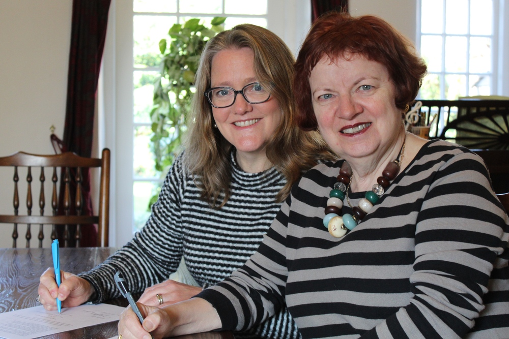 History is Made: Sarah Towle and Mary Hoffman ink TTT&T's first author agreement, Oxfordshire, UK, 23 May 2015.
