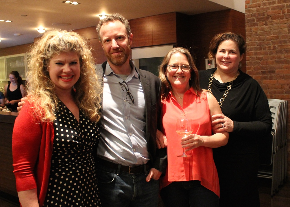 Marcie Colleen, Dan Blank, Sarah Towle, and Julie Gribble at KidLit TV's TTT&T Kickstarter Launch Party.