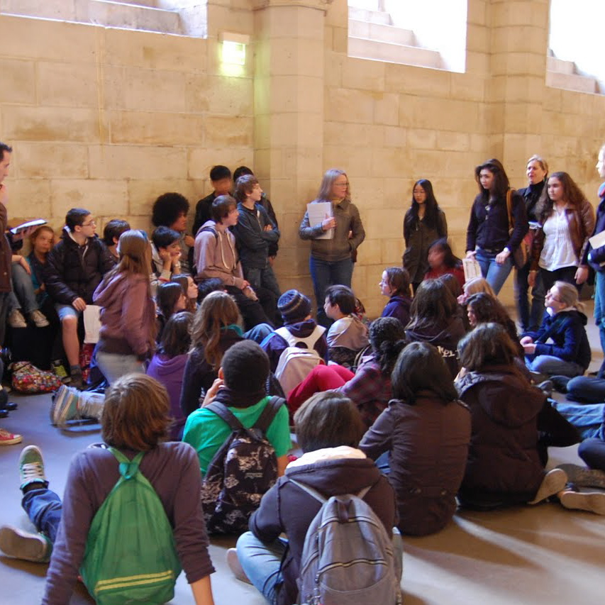 At the Conciergerie Prison with students (aged 13-14) and teachers from the International School of Paris, France.