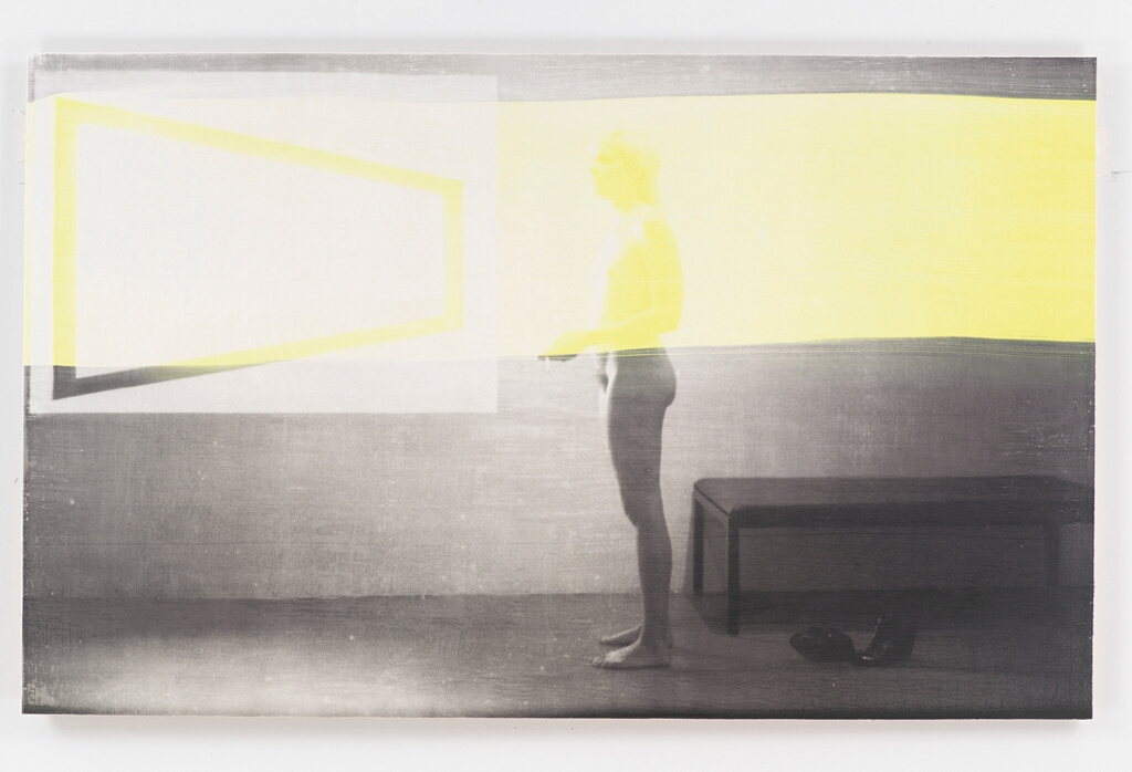 "RH Quaytman Distracting Distance, Chapter 16 (A Woman in the Sun–yellow), 2010 Oil, silkscreen, and gesso on wood, 24.75"" x 40"" Courtesy of the artist and Miguel Abreu Gallery, New York"