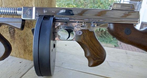 King Arms Thompson Gold & Silver AEG Airsoft Machine Gun ...