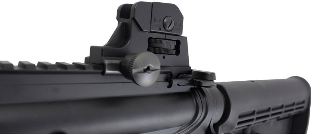 KJWorks M4 CQB Carbine GBB Airsoft Rifle Left Side Rear Sight.jpg