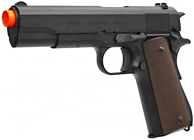 KWA M1911A1 GBB Airsoft Pistol Left Side Angle Red Tip.jpg