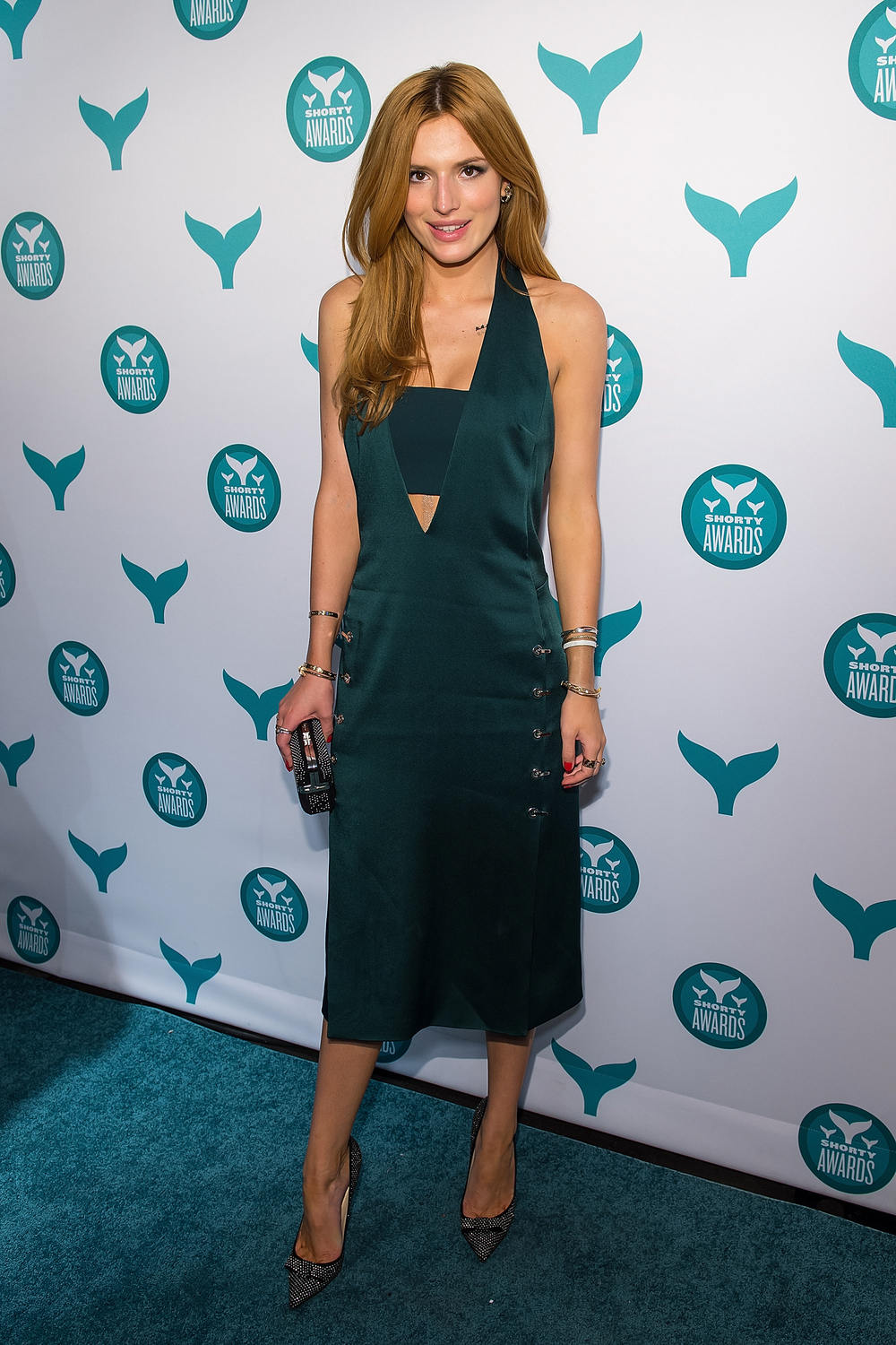 Bella Thorne—on-brand in teal—at the Seventh Annual Shorty Awards, at the Times Center in Manhattan, April 2015.