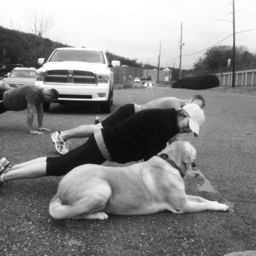 Kevin, Kristen and Doss's dog getting a workout in.