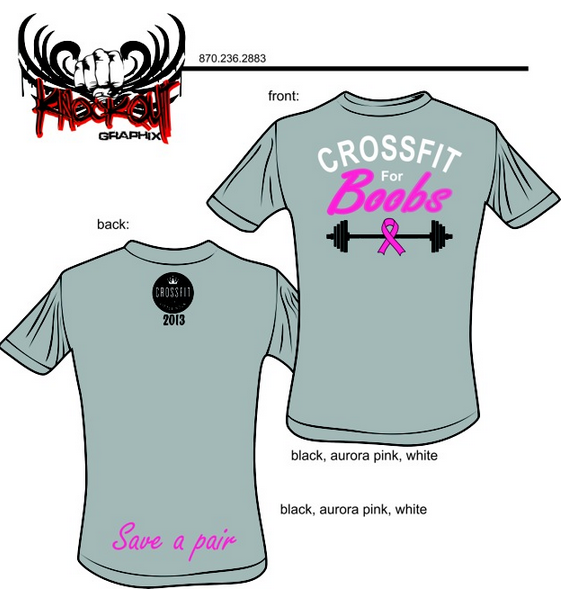 Proceeds from the shirts will go to Barbell for Boob/Race for The Cure