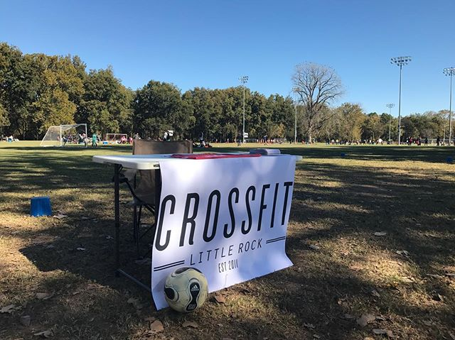 It's a beautiful day at the Arkansas State ⚽️ Championship tourney. Come by and try our soccer WOD challenge!
