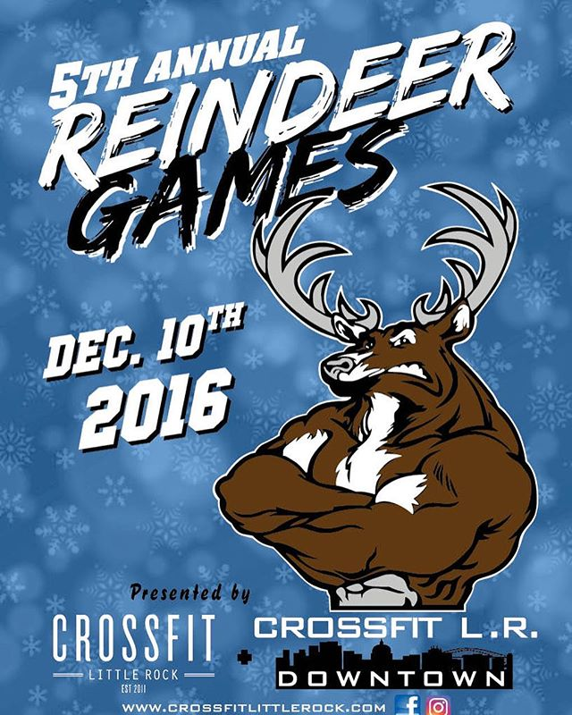 ONLY 10 SPOTS LEDT!!! All the WODs are posted and HALF of the spots are already filled!!!! Don't miss out on this awesome competition. Last day to enroll with shirts included is 11/25.  http://crossfitlittlerock.com/pro-shop-1/5th-annual-reindeer-games