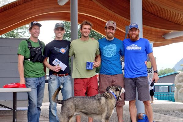 mens 50 mile podium (l-r): Geoff (RD), me, Nick, Ed, Gary(RD) - photo taken by iRunFar