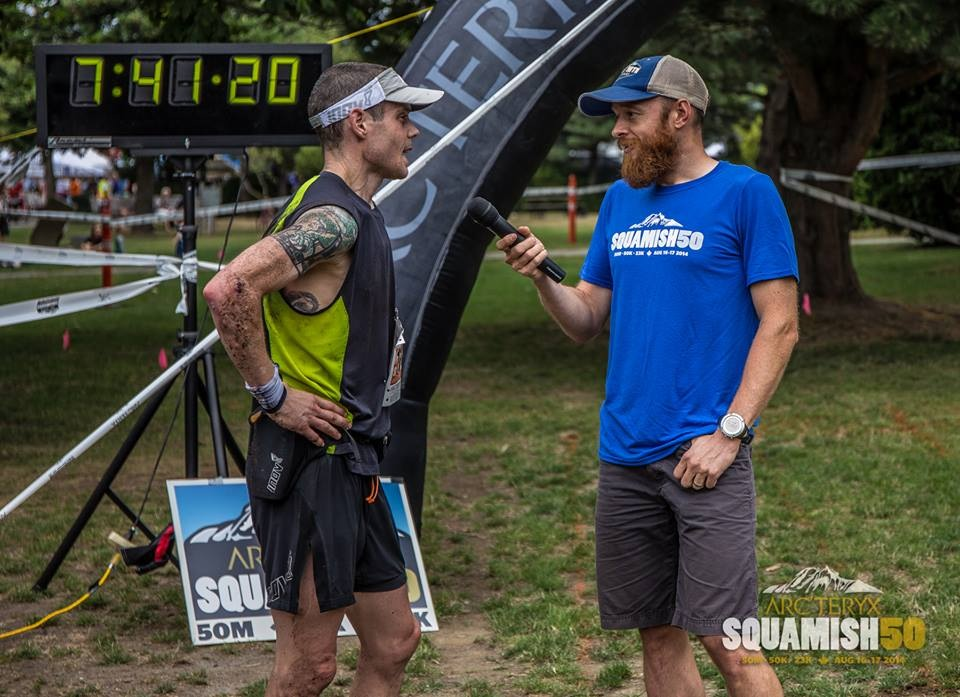 Talking with Gary after crossing the line
