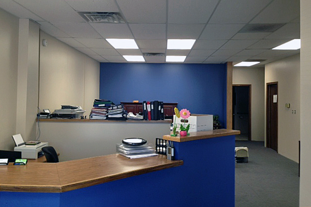 our hastings office is getting a new look the walls were painted our signature blue over the weekend which is just stage one of this remodel blue office walls