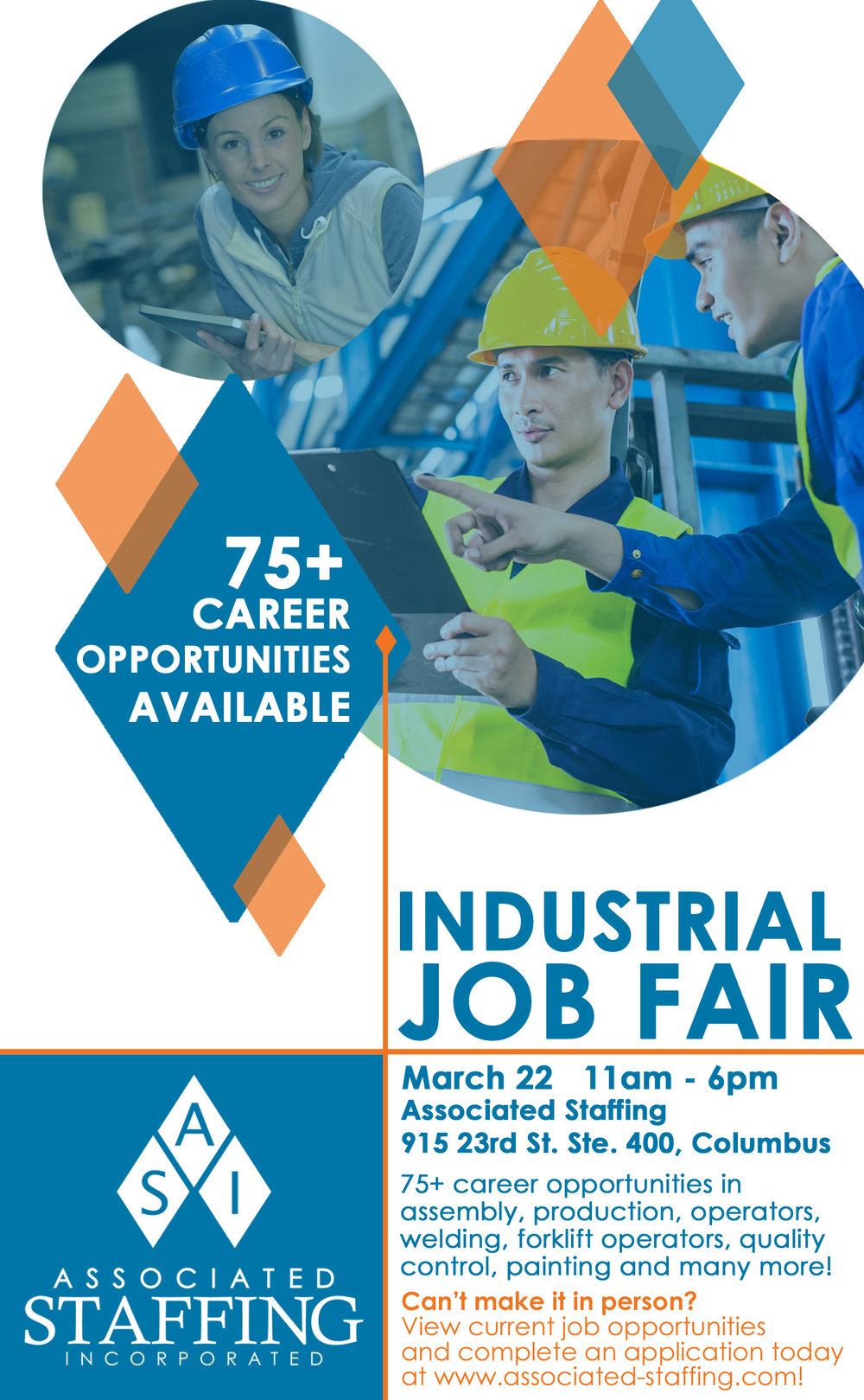 industrial job fair associated staffing inc make plans to join us on 22 in columbus for an industrial job fair apply online anytime at associated staffing com