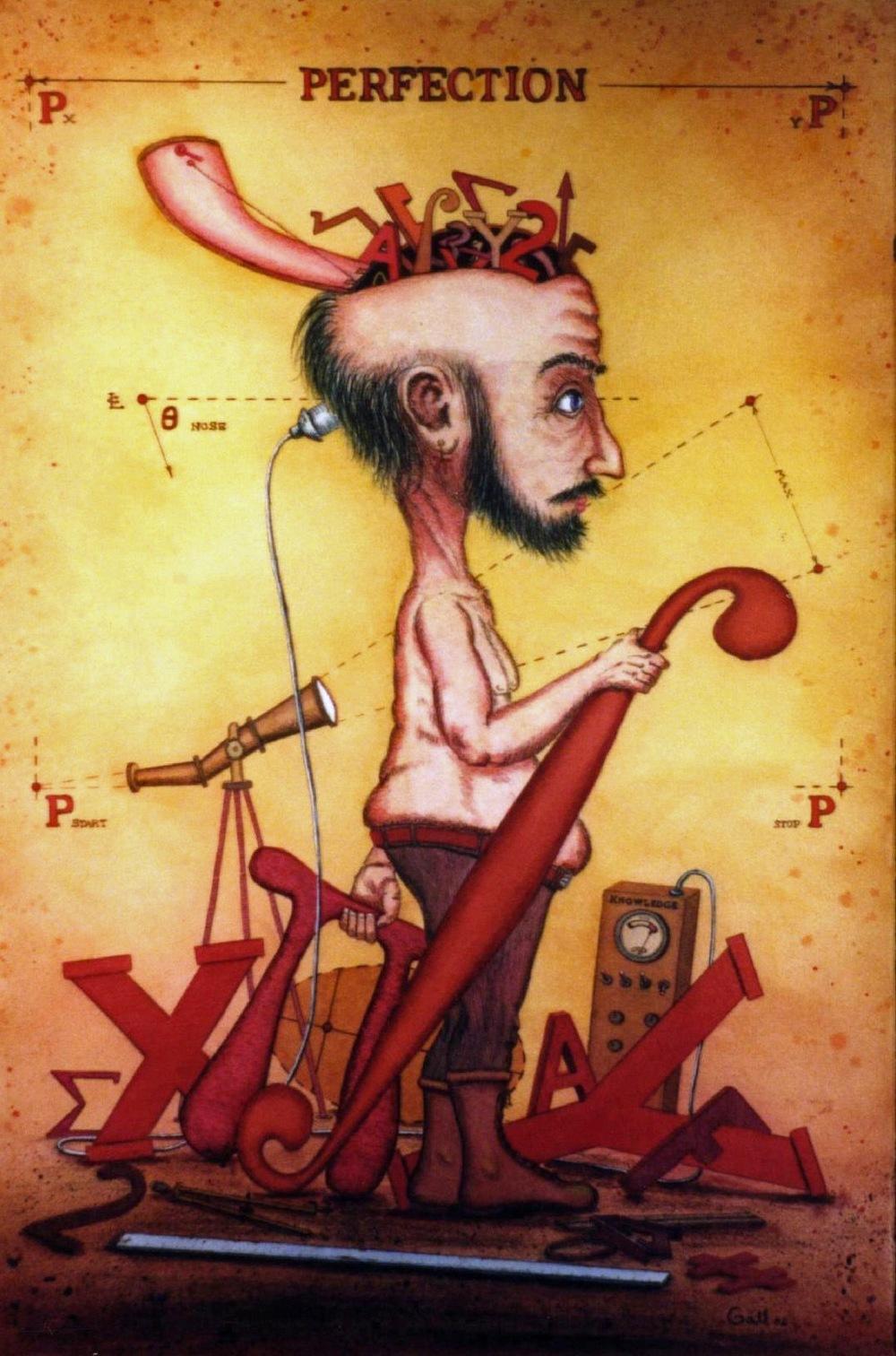 John D. Gall  Creating an Egghead, Mixed Media, 22x15