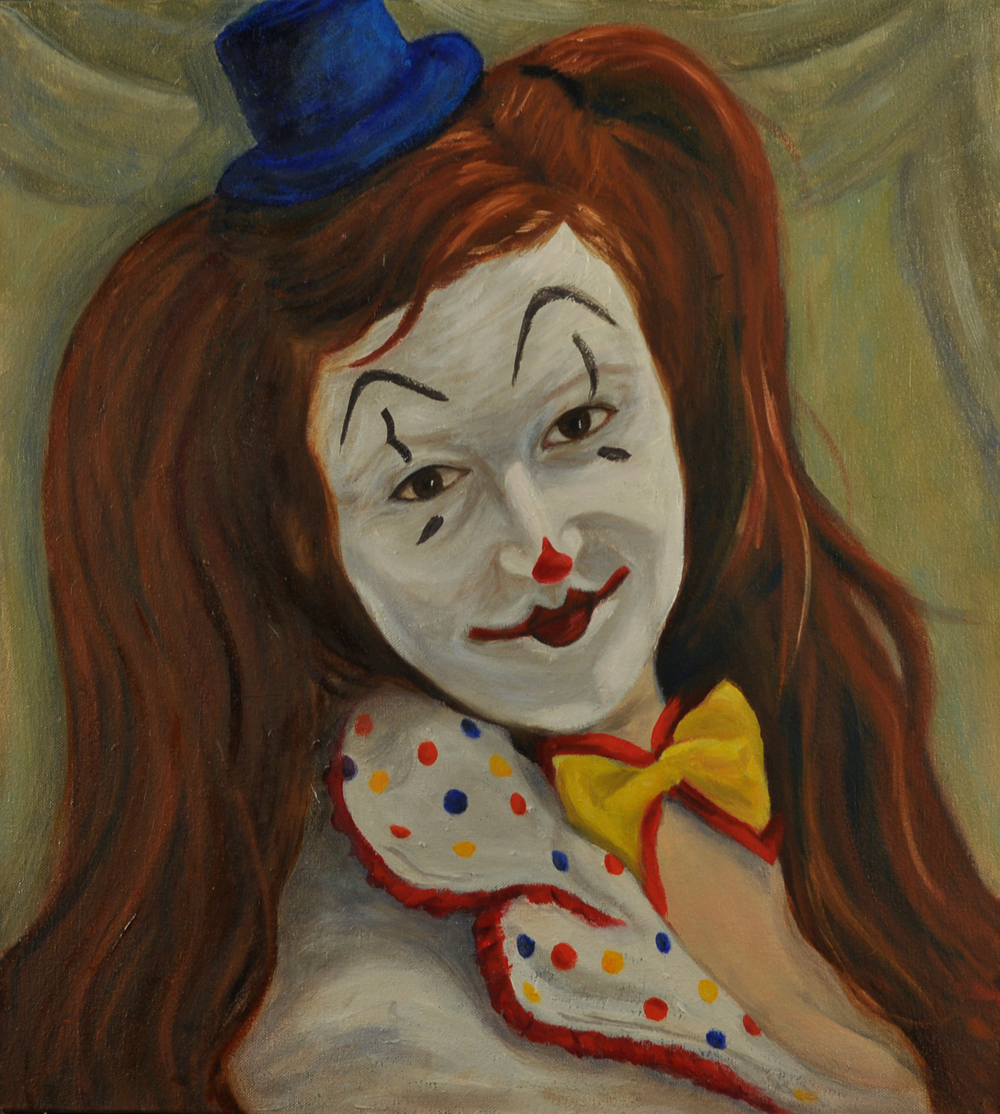 Self Portrait (clown)   oil on canvas