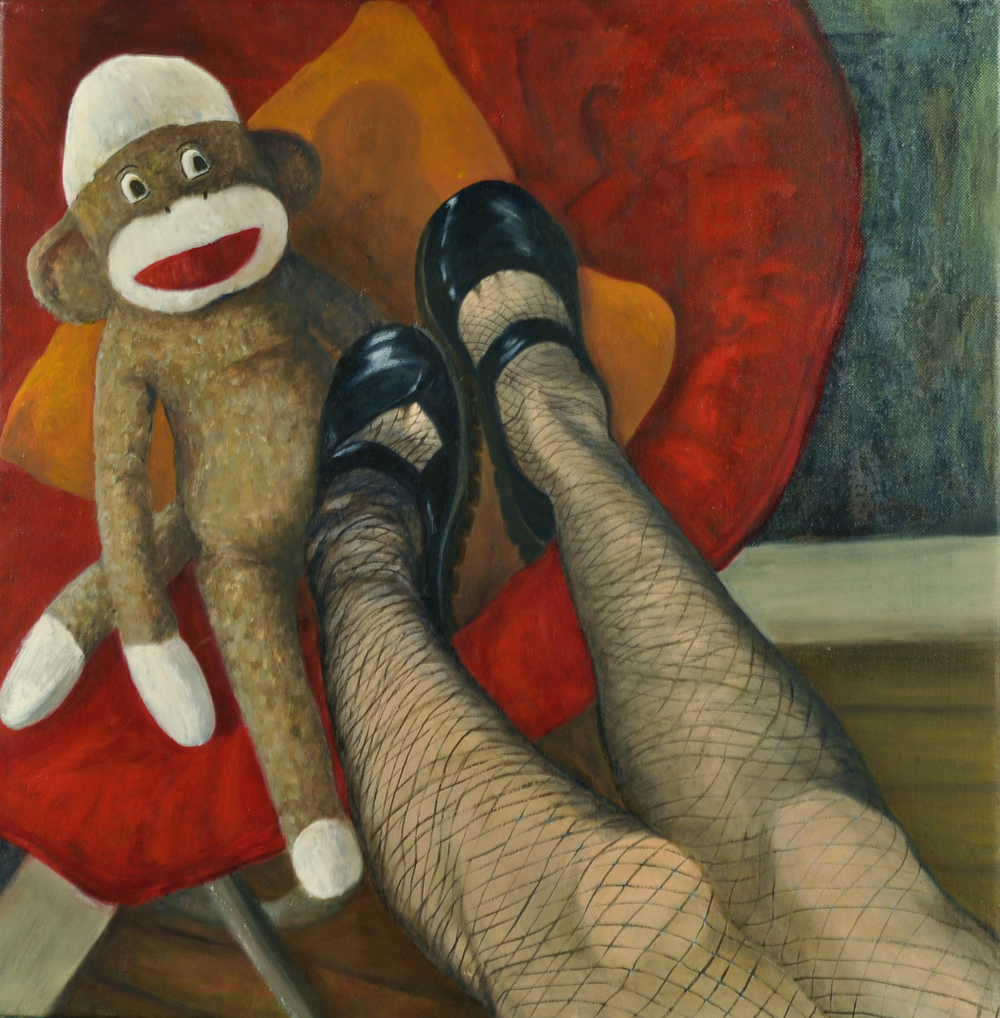 Self Portrait with Sock Monkey    oil on canvas