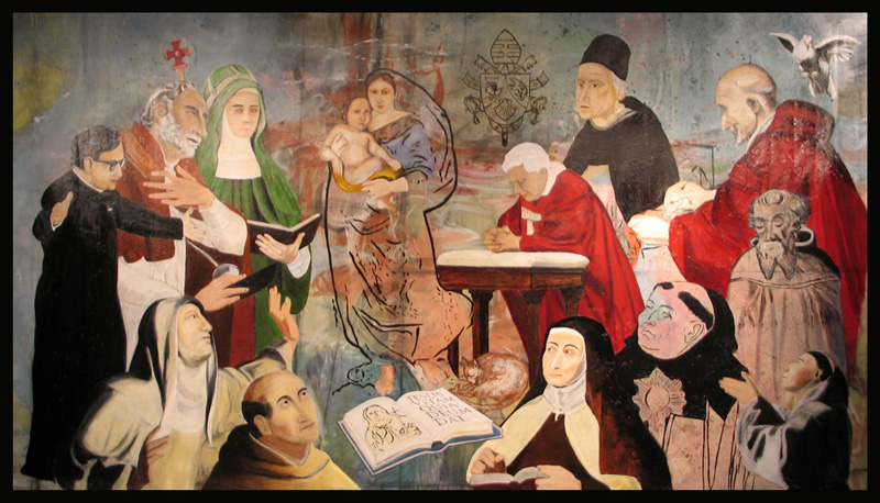 """""""Pope Benedict XVI at Prayer with the Holy Theologians"""", Oil and Acrylic on Canvas, Dimensions: 8 ft. x 14 ft."""