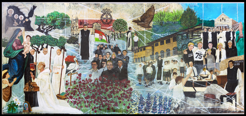 """History of the Cistercian Preparatory School""  , Oil and Acrylic on Canvas, Dimensions: 9 ft. x 18 ft., Date: 2003-2014"
