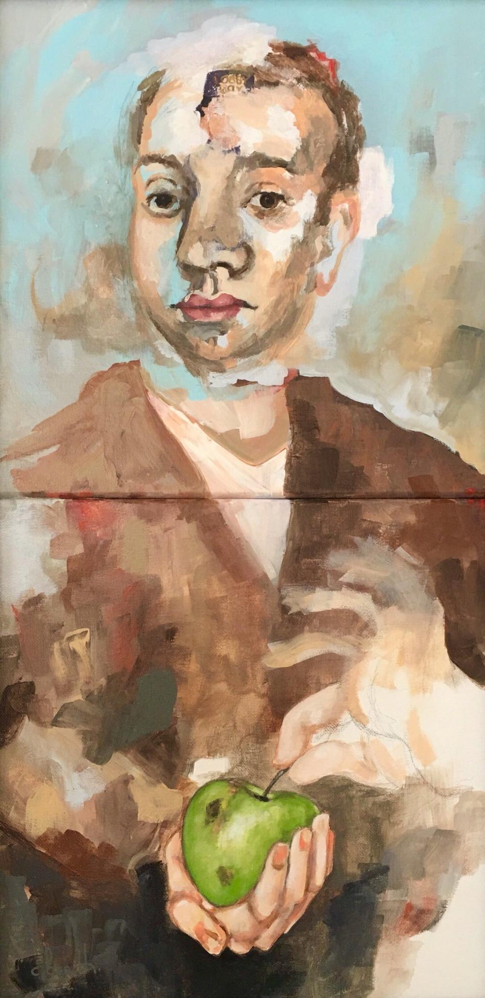 lobby boy with apple 24x12 inches acrylic on canvas