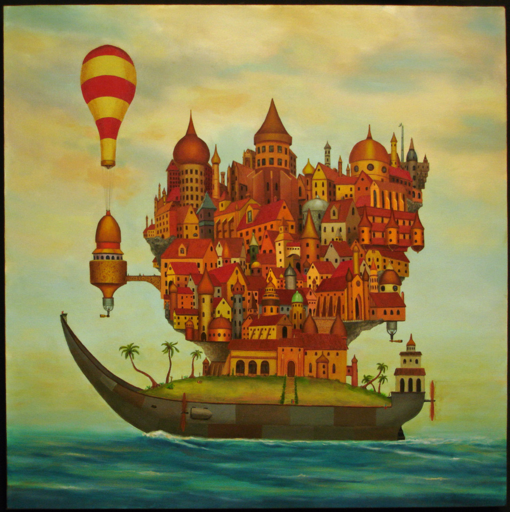"The Babel Boat, 30""x30"" oil on canvas"