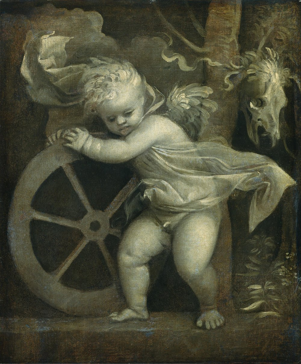 Titian (Tiziano Vecellio) This painting is usually called Cupid with Wheel of Fortune. A festooned animal skull (bucranium) is depicted behind the winged Cupid, making the image an allegory of Love, Fortune, and Death.