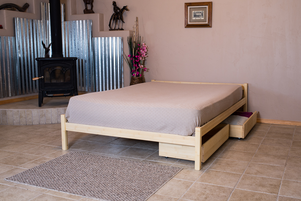 "Pecos Bed in Light Bamboo with ""Addition of"" Underbed Drawer Set"