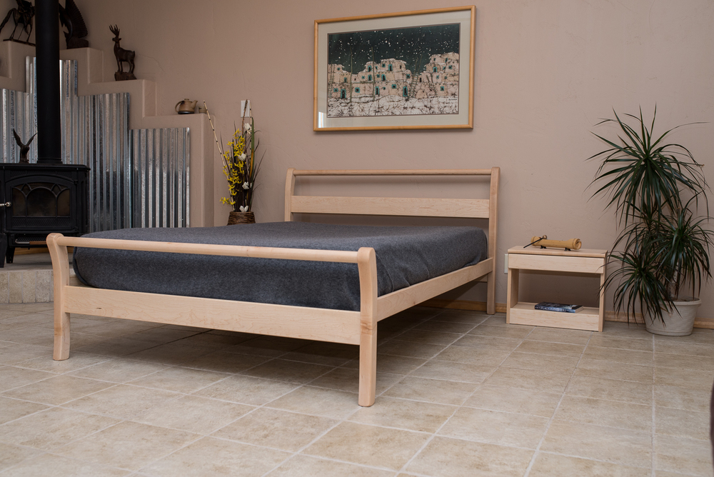 Taos Sleigh Bed shown in Maple