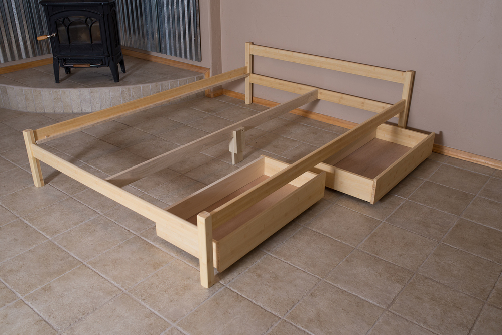 Two Underbed Drawers show with bed frame.  Drawers have 4 coasters for easy access.