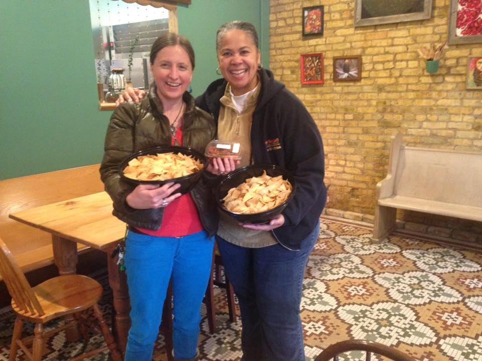 Dropping off cHips we donated to Tricklebee (pay what you can) Cafe 42nd North Ave.
