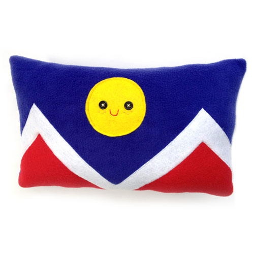 happy denver flag pillow