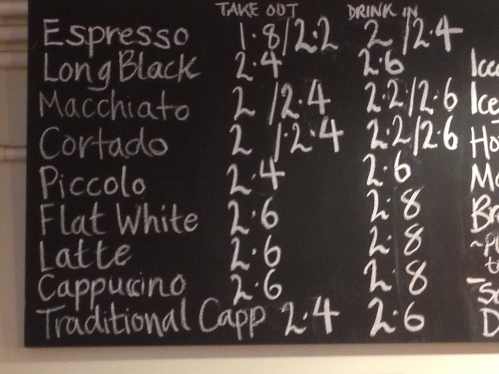 Notes Coffee Prices - reduced from September 9th onwards