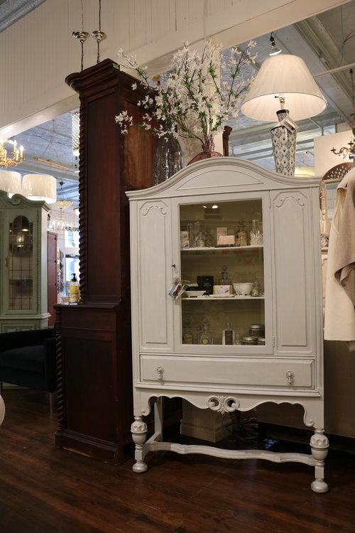 Paris Gray Restored Antique Linen Cabinet - Paris Gray Restored Antique Linen Cabinet — Bellissimo
